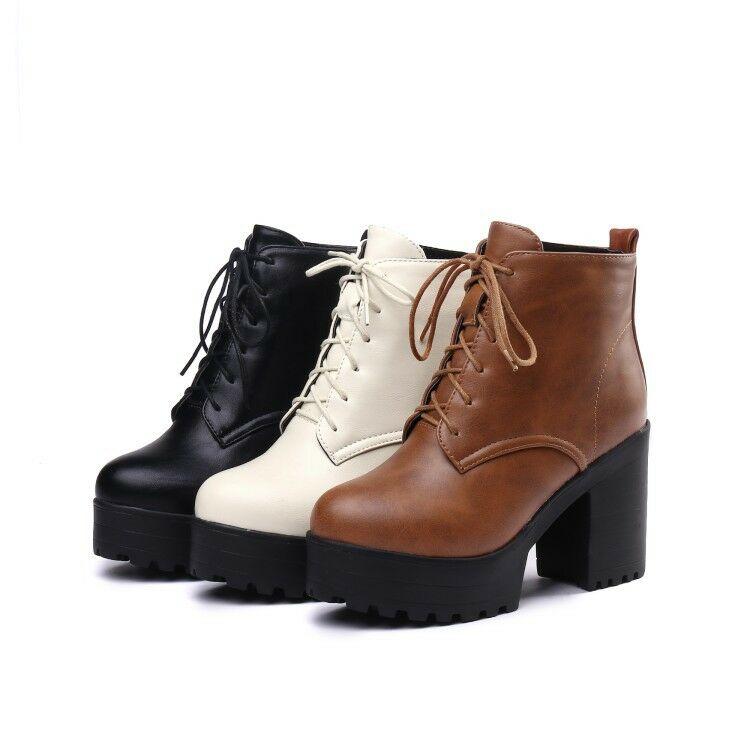Ladies Retro Lace Up Platform Side Zip Combat Ankle Boots High Block Heels shoes