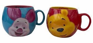 DISNEY Pair of Barrel Mugs Winnie The Pooh - Pooh & Piglet - Red Blue