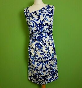 Max Mara Studio Pencil Dress UK 10 Blue White Floral Fitted Ruched Waist