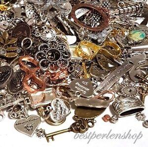 Metall-Anhaenger-Mix-100g-Verbinder-Metallperlen-fuer-Halskette-Charm-Mischung-M66