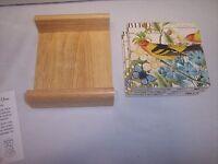 Stone Coasters Set Of 4 With Wooden Holder, Botanical Birds