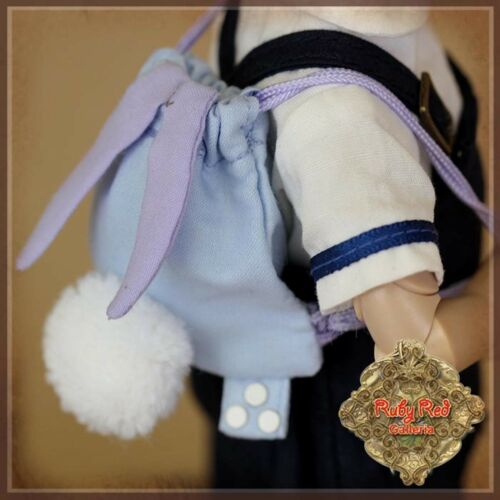 HZ0018A BLUE BUNNY BACKPACK  for 8 dolls, Ten Ping, 4 Kinder,RUBY RED GALLERIA