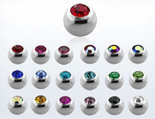 1-10PC 3mm Steel Bezel Crystal Balls 16 Colors 16G Threaded Replacement Jewelry