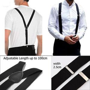 Black-25mm-Unisex-Mens-Men-Braces-Wide-Elastic-Suspenders-Adjustable-UK