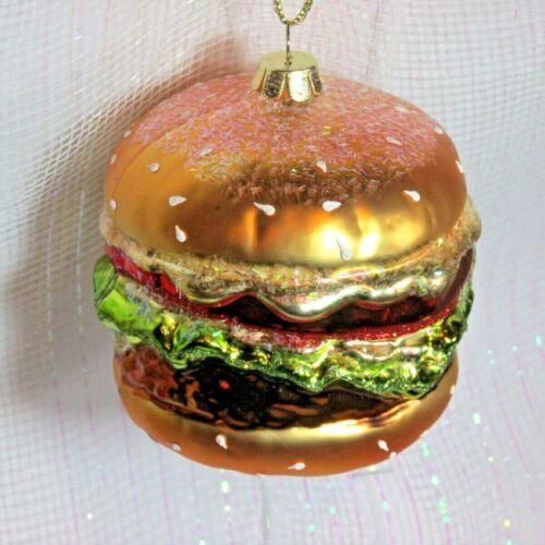 Hamburger Burger Ornament food diner  Blown Glass Christmas Ornament New 3F3