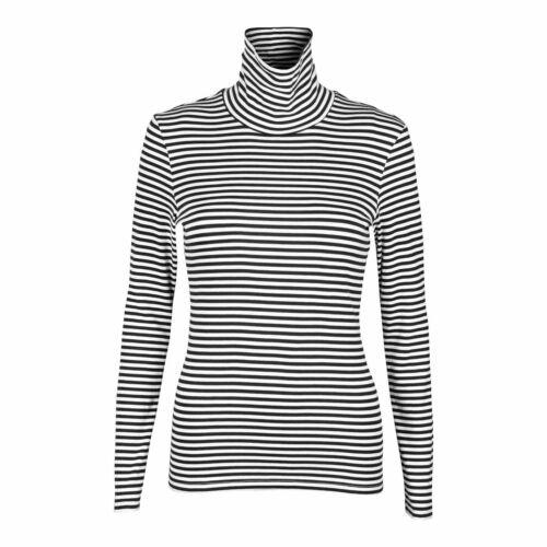 Ann Taylor Turtleneck Top Womens Sizes S M L Black White Gray Striped Stretch