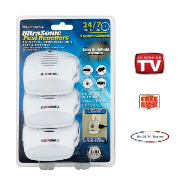 Bell & Howell 3-Pack Ultrasonic Pest Repeller with Extra Outlet & Nightlig..