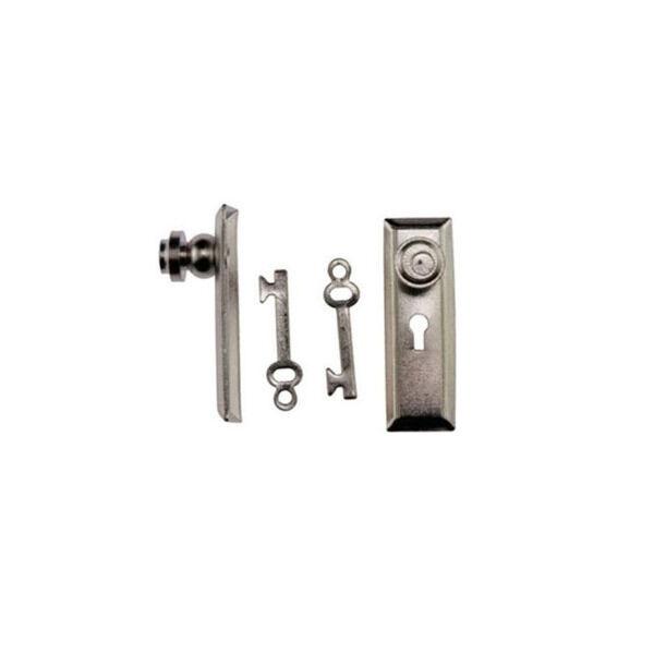 Set Of 2 Dollhouse Miniature Door Knobs On Back Plates U0026 Skeleton Keys  #CLA05524