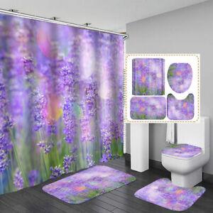 Purple Lavender Shower Curtain Bath Mat