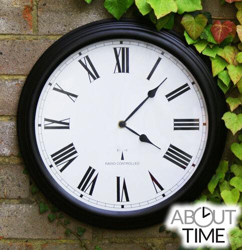 Radio Controlled Outdoor Garden Wall Clock Black Round