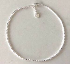 Genuine-925-Sterling-Silver-Balls-Chain-Anklet-Women-Girls-Children-Heart-Tag