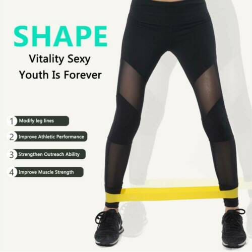 5x Esistance Band Loop Exercise Rubber Gym Yoga Fitness Training Elastic Band US
