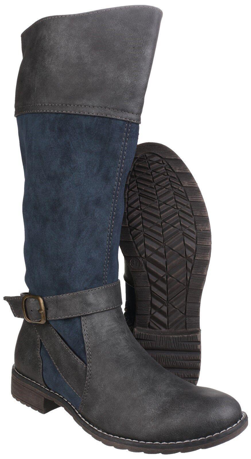 Divaz Garbo Knee High Zip Up Damenschuhe Two Toned Fashion Stiefel Schuhes UK3-8