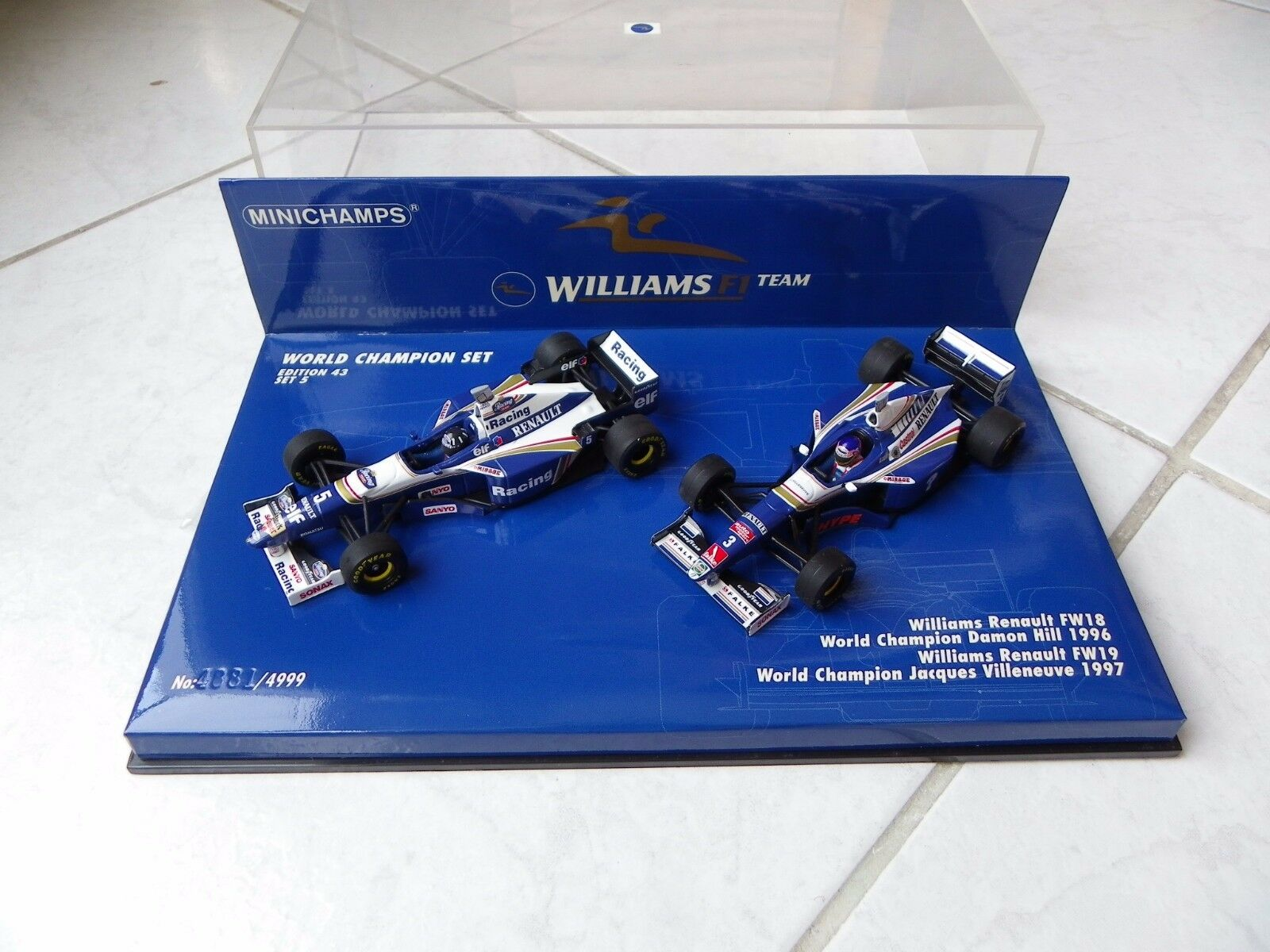 Williams Renault FW18 FW19 Hill Villeneuve 96 97 Minichamps 1 43 F1 Caja Set