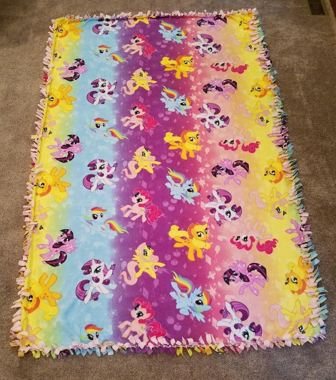 NEW My Little Pony Fleece Tie Blanket 81  L x 52  W pink rainbow ombre handmade