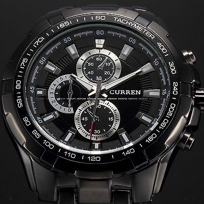 Fashion Curren Mens Stainless Steel Luxury Sport Army Analog Quartz Wrist Watch