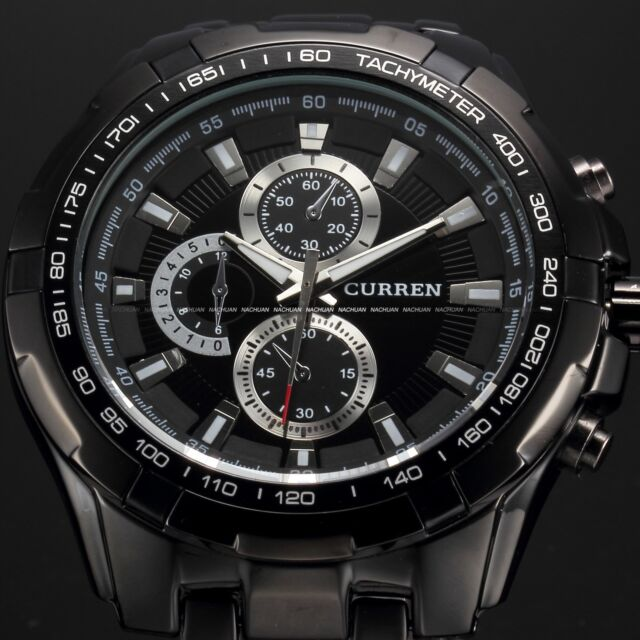 Fashion Curren Mens Stainless Steel Luxury Sport Army Analog Quartz Wrist Watch