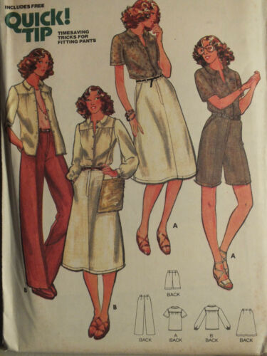 VTG 70s BUTTERICK 5922 Misses SHIRT SKIRT PANTS /& SHORTS Pattern 8 or 12 UC