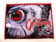 obituary cause  of death red border     woven patch