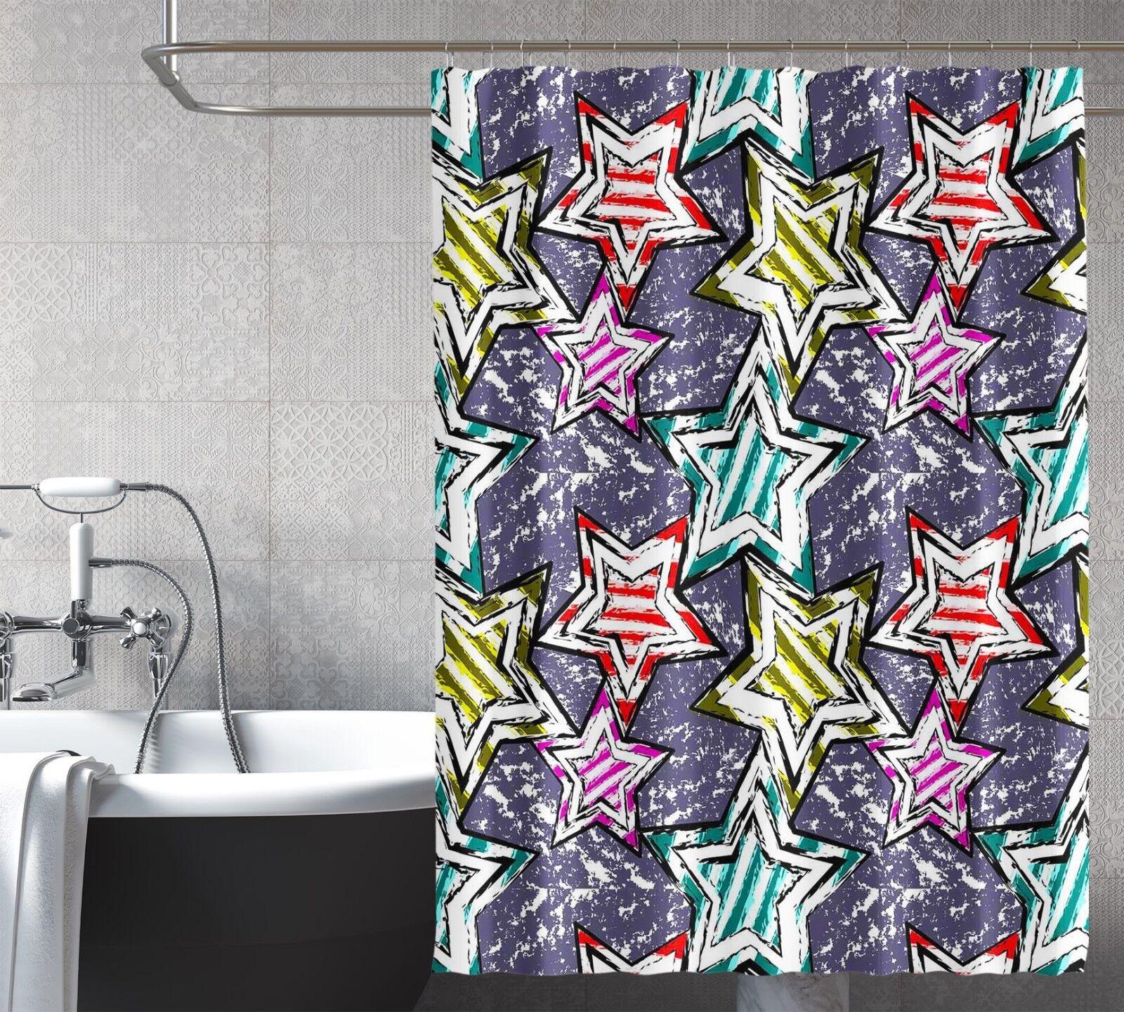 3D Farbige Sterne Sterne Sterne 78 Duschvorhang Wasserdicht Faser Bad Daheim Windows Toilette   New Style  c4f6aa