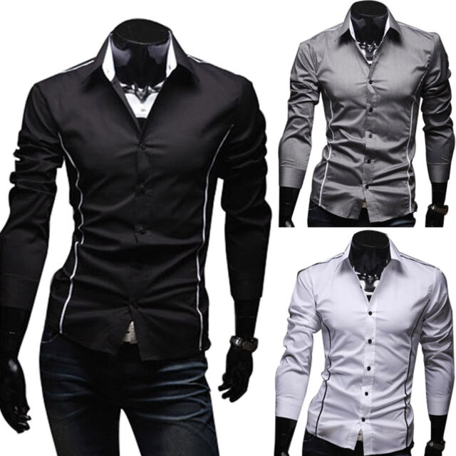Hot Mens Luxury Stylish Casual Shirts Slim Fit Long Sleeve Dress Shirt Tops