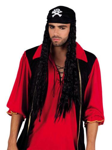 Perruque pirate Black Bellamy avec bandana mardi gras carnaval perruque