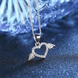 Silver-SP-Pave-Cubic-Zirconia-Love-Heart-Angel-Wing-Pendant-Necklace