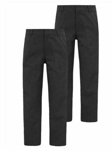 NEW BOYS EX STORE GREY ADJUSTABLE WAIST REGULAR SCHOOL TROUSERS Age 3-12 year T2
