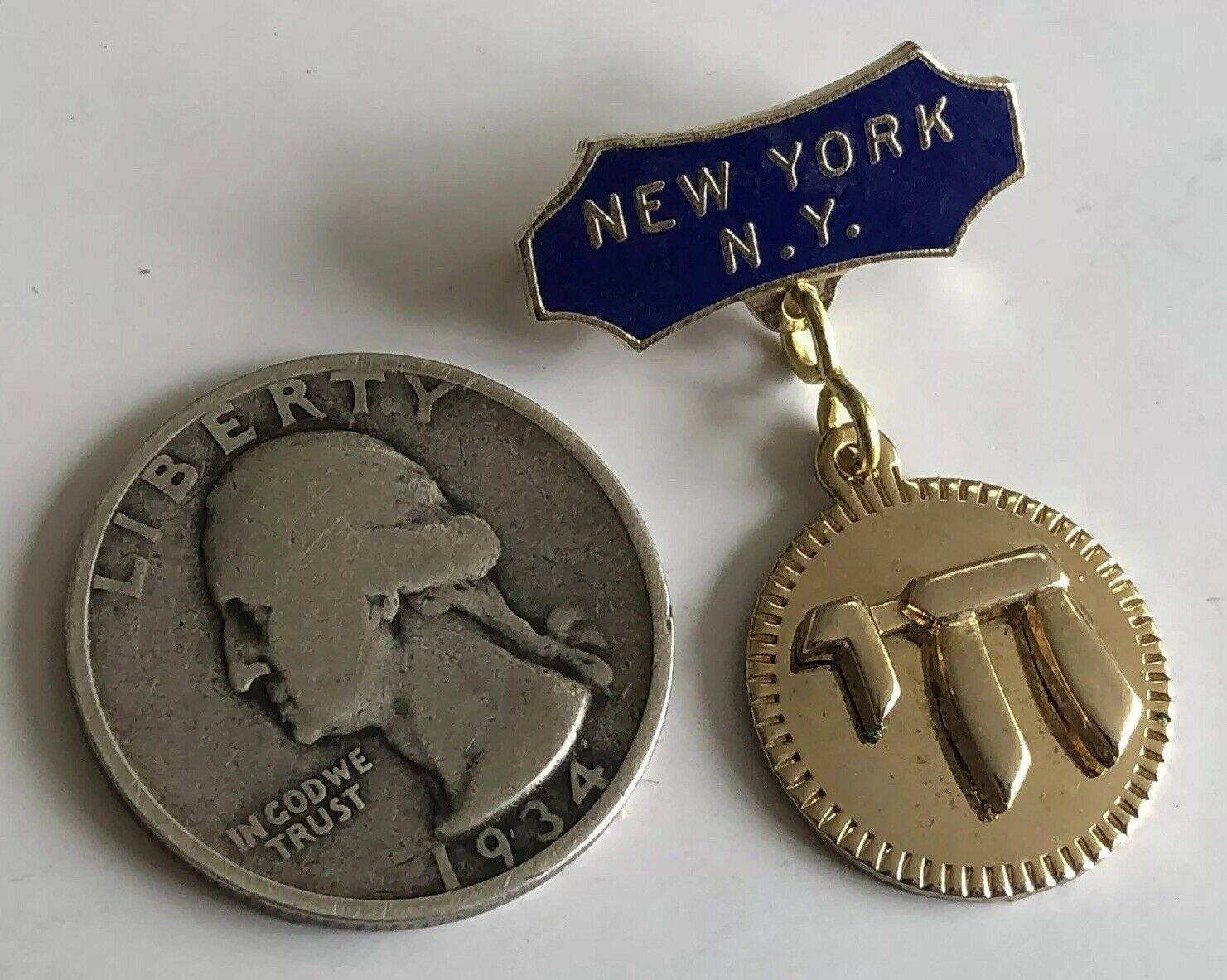 Vintage 1940's NYC JEWISH SWEETHEART Lapel Pin with CHAI New York City Souvenir
