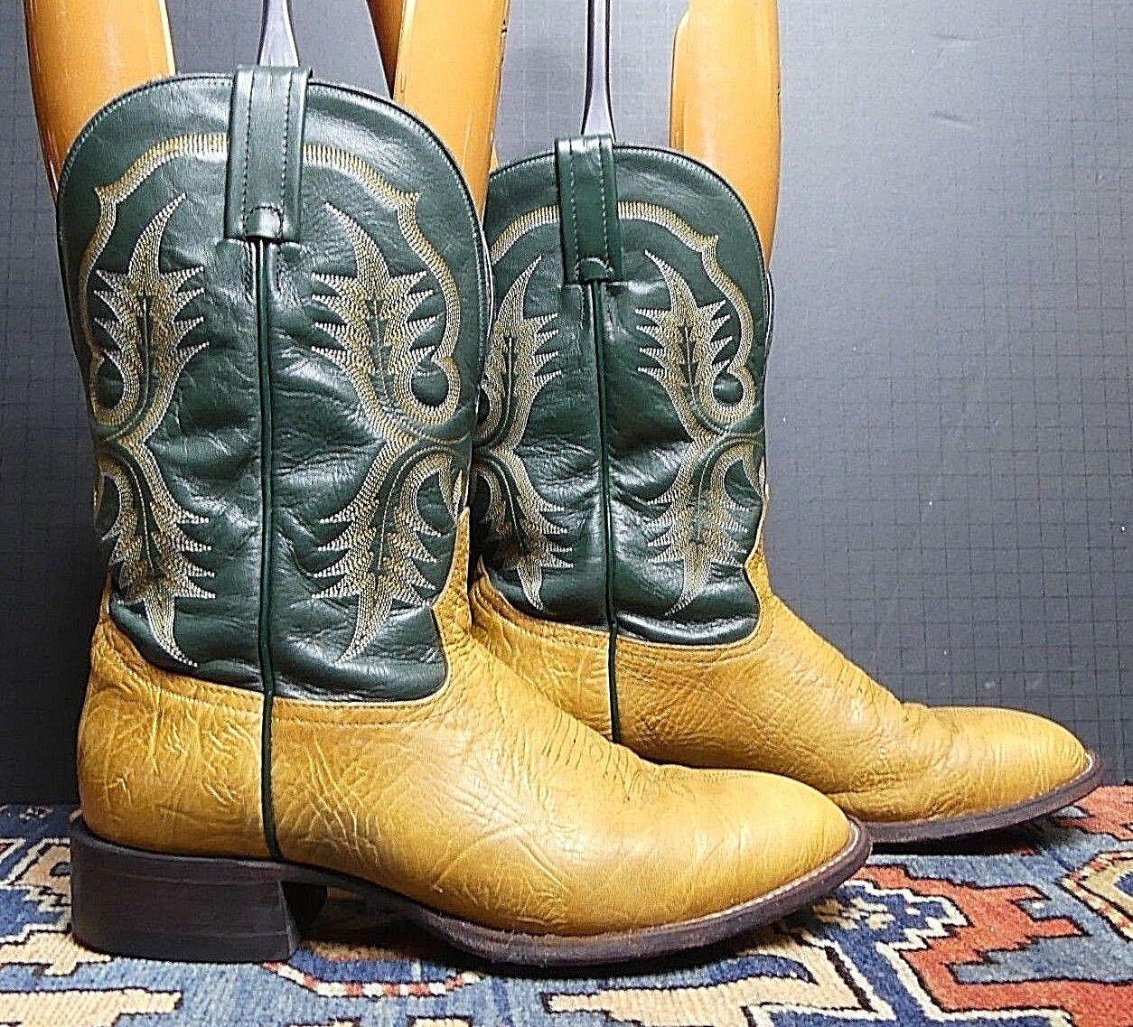 Tony Lama Shrunken Shoulder-Green Bay Packer Colors 9.5B Western Stivali Sz 9.5B Colors MINTY! 619919