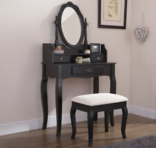 Shabby Chic Dressing Table Vanity Makeup with 7 Drawers 3 Mirrors and Stool