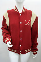 VINTAGE 50's Red Baseball Jacket Bomber Wool Size M 12 14