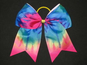 "NEW /""RAINBOW ZEBRA/"" Cheer Bow Pony Tail 3/"" Ribbon Girls Hair Bows Cheerleading"