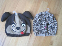 Twin Boy Girl Brown Dog & Leopard Spots Kitty Cat Knit Winter Hats 2t 3t 4t