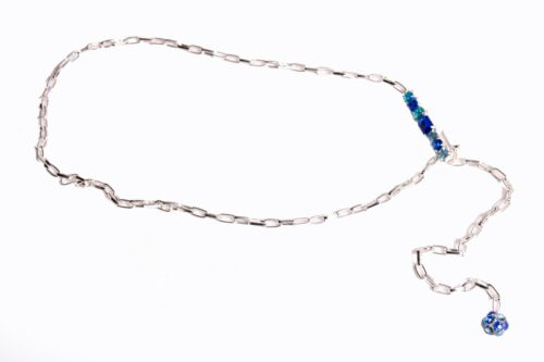 S402 Outstanding Discreet Ladies Thin Silver Chain Belt w Blue Crystal Details
