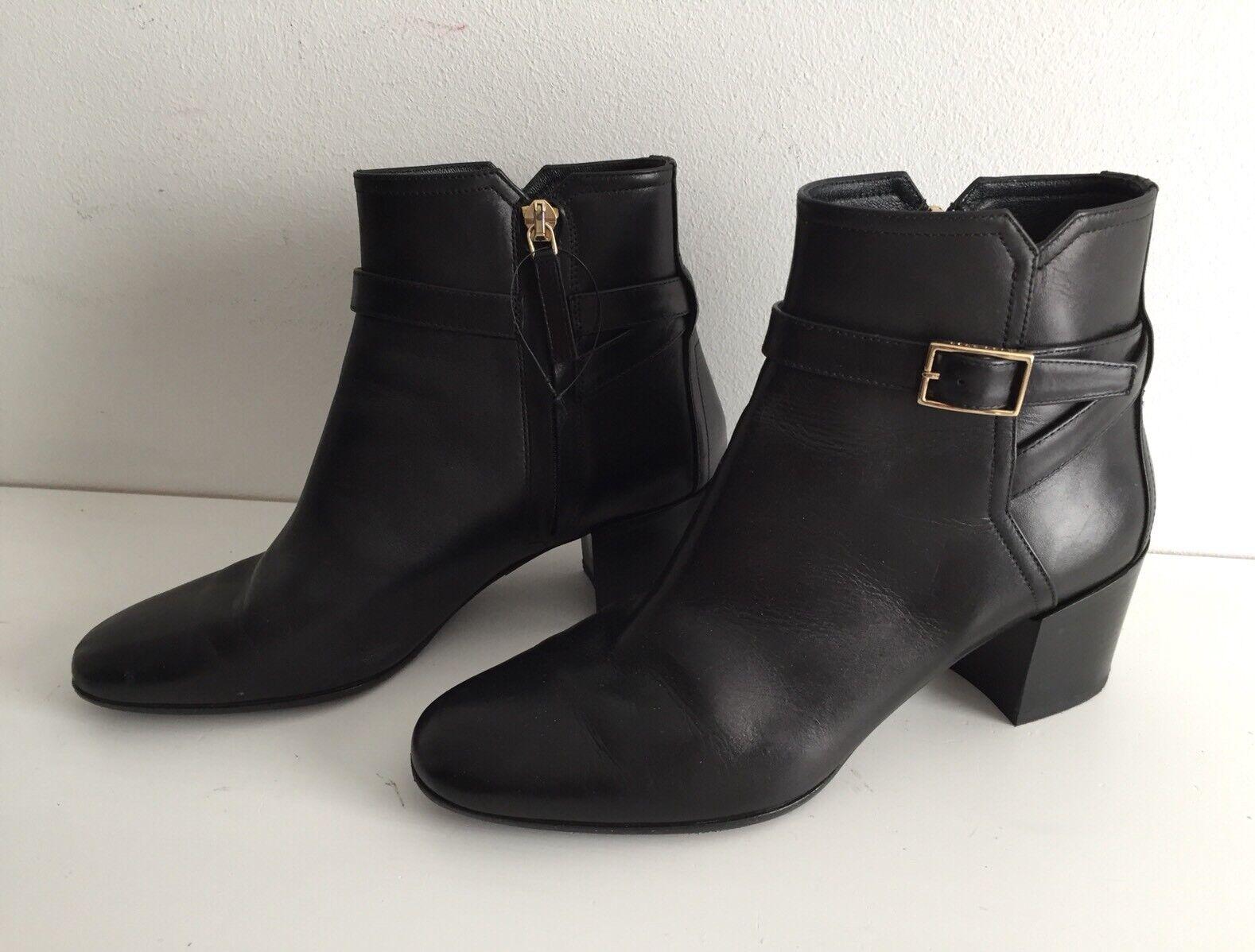 Damen Leder Stiefel Stiefelette Ankle Stiefel mit Schnalle HUGO BOSS schwarz Gr.36