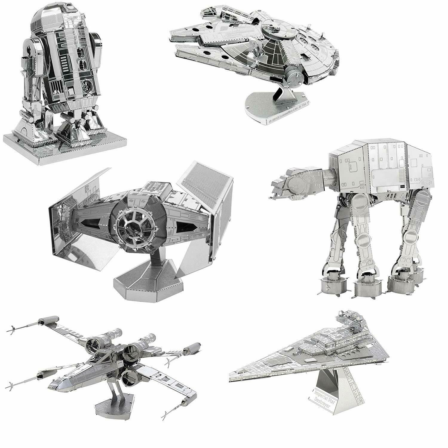 6 Metal Ekonsth stjärnornas krig modelllllerler Kit Destroyer Falcon R2D2 X -vinge AT -AT Tie Fighter