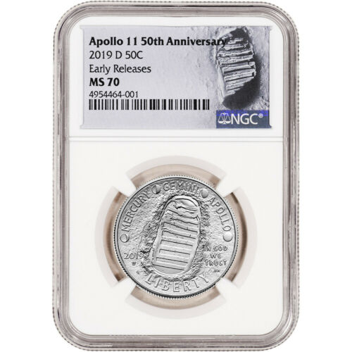 2019 D US Apollo 11 Commemorative BU Half Dollar NGC MS70 Early Releases Lunar