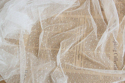 """1yard*60""""little spot white veil,mesh lace fabric,Point Dotted curtain in WHITE"""