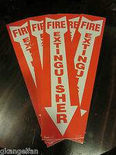 Lot Of 5 Self Adhesive 4 X 18 Vinyl Fire Extinguisher Arrow Signsnew