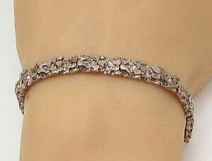 925 Sterling Silver - Vintage Textured Square Hinge Link Chain Bracelet - BT1314