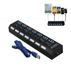 7 Port USB 3.0 HUB High Speed With Power Cable-55cm For PC Laptop Notebook Black