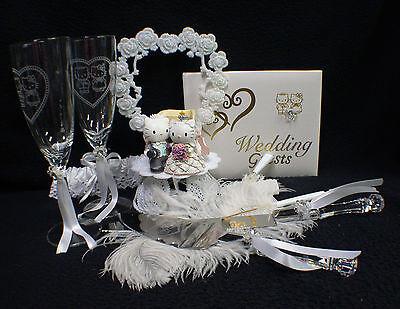 Hello Kitty & Daniel Sweet Cat  Wedding Cake Topper Glasses Knife Serve Book Pen
