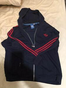 kostar charm anländer bästa online Adidas Trefoil XL Black Zipper Hoodie With Red 3 Stripes | eBay