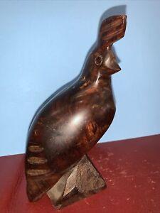 Vintage Hand Carved Ironwood? Quail Partridge Bird Wood Figurine Sculpture