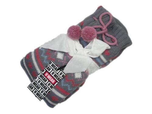 Ladies Fairisle Pattern Chunky Knit Socks Gripper Sole Christmas Gift Warm Comfy
