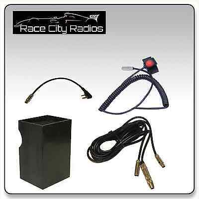 NASCAR Race Car Wire Harness for BAOFENG + Velcro Mount PTT Switch on