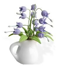 1//12 Dollhouse Miniature Vivid Clay Plant Flores Convallariae in Vase,White/&P B3