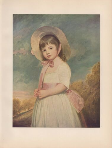 """1956 Vintage CHILDREN /""""MISS WILLOUGHBY/"""" GEORGE ROMNEY COLOR Print Art Lithograph"""
