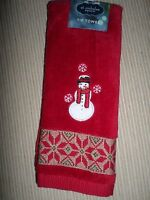 Christmas Red Embroidered Snowman Decorative Fingertip Towel